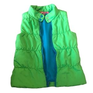 I love energy bright green vest with blue inside